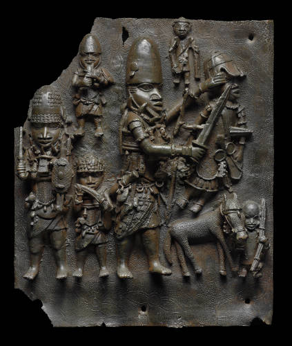 A plaque depicting a 16th century battle scene in Benin Kingdom. Museum of Fine Arts, Boston.